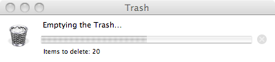 osx trash progress window