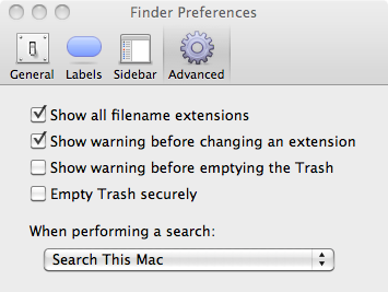 Finder Preferences Window